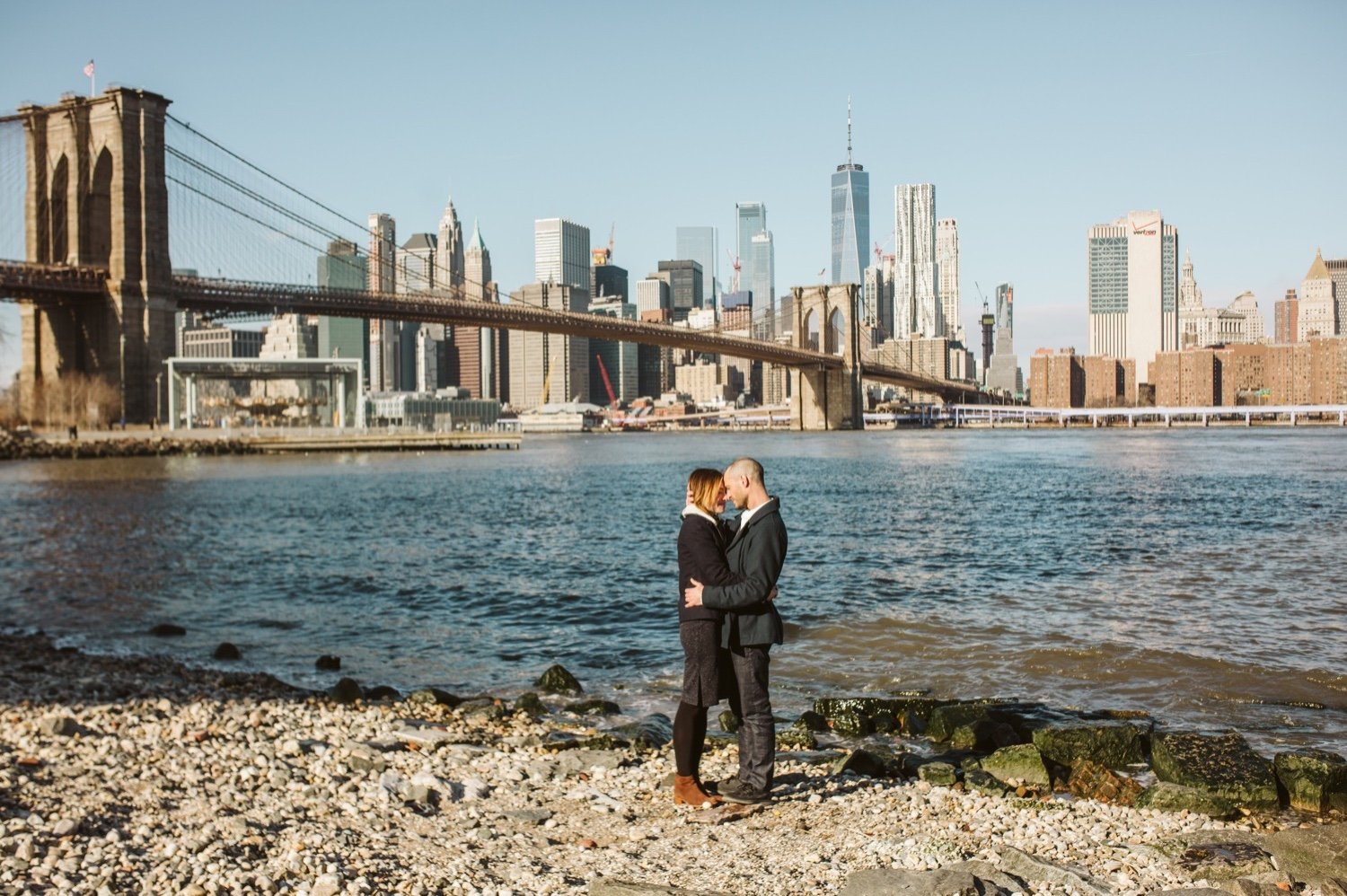 DUMBO Engagement Session, DUMBO Brooklyn Engagement Photographer, The coolest places in brooklyn for an engagement session, Best places to take your engagement photos in brooklyn, Brooklyn NY Wedding Photographer, Wedding Photographers in Brooklyn, NYC Wedding Photographers on the Knot, Luxury NYC Wedding Photographers, Natura Collective, Sea Shack Photo and Films, Outside engagement session inspiration photos, Pinterest poses for engagement sessions, NYC Skyline engagement session photos, Brooklyn Wedding Videographer