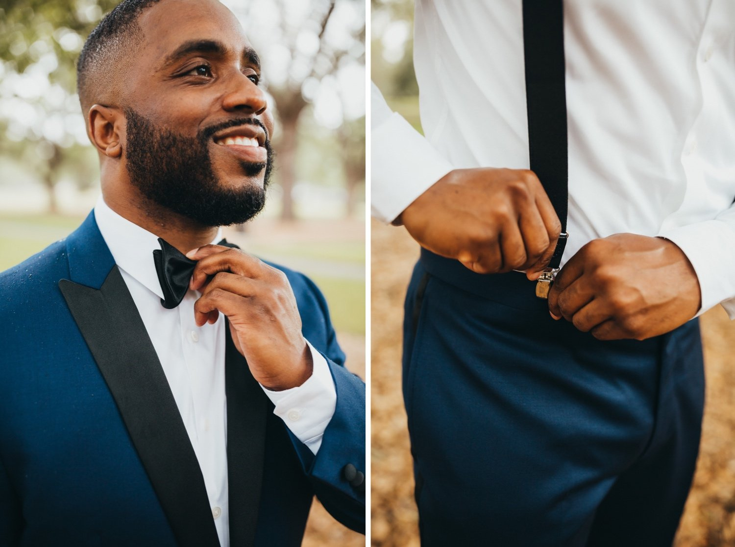 Groom adjusting his wedding suit for getting ready