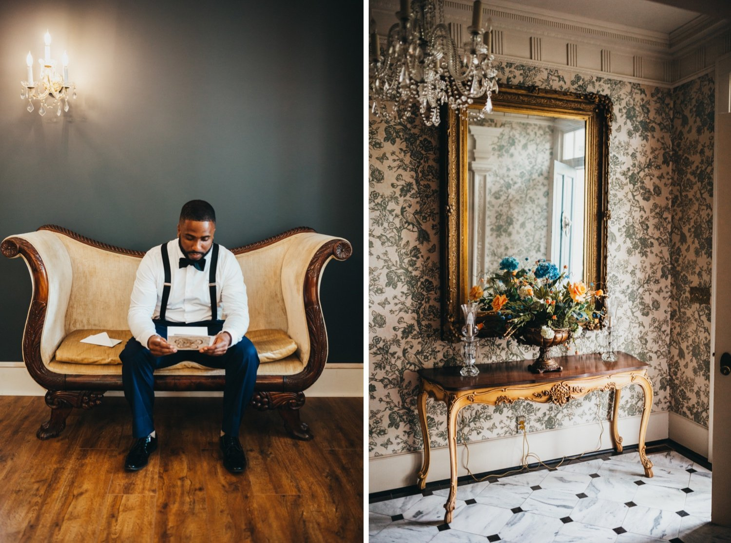 groom reading letter from his bride and photo of entryway of the venue