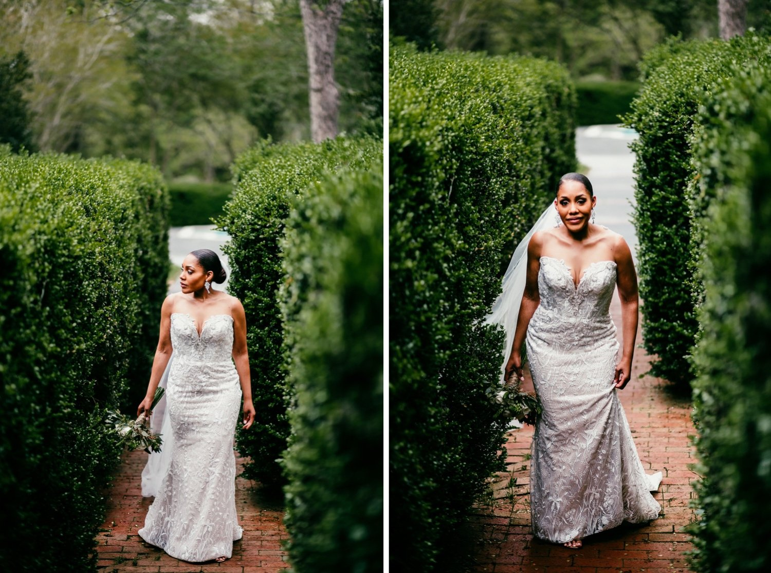 photos of the bride walking alone in the back yard between two lush hedges