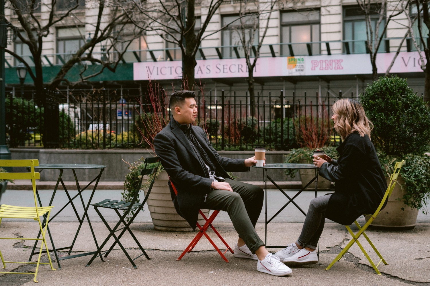 Couple having coffee during their manhattan engagement session