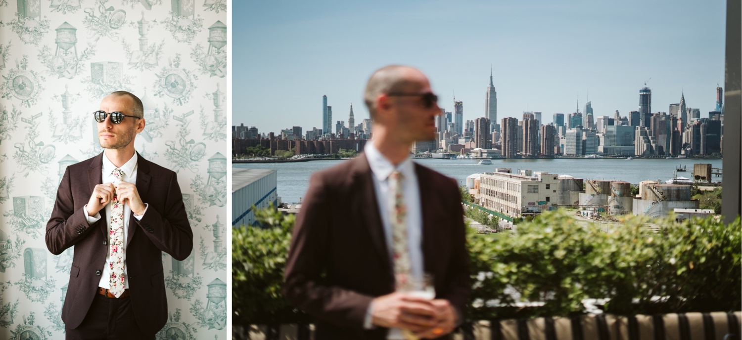 the groom in the wythe hotel room and on the rooftop bar of the wythe hotel with manhattan in the background