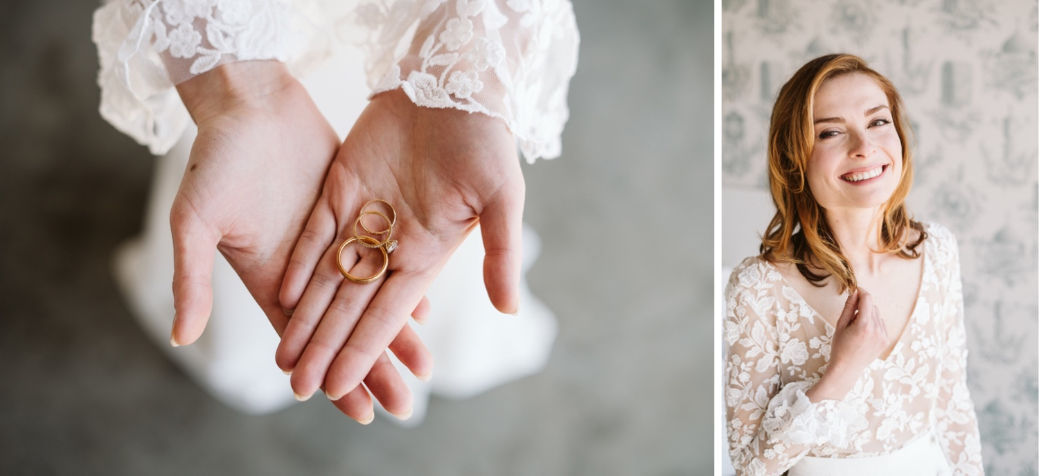 closeup shot of the wedding bands in the bride's hand and a photo of katie looking at the camera smiling and laughing in her wedding dress