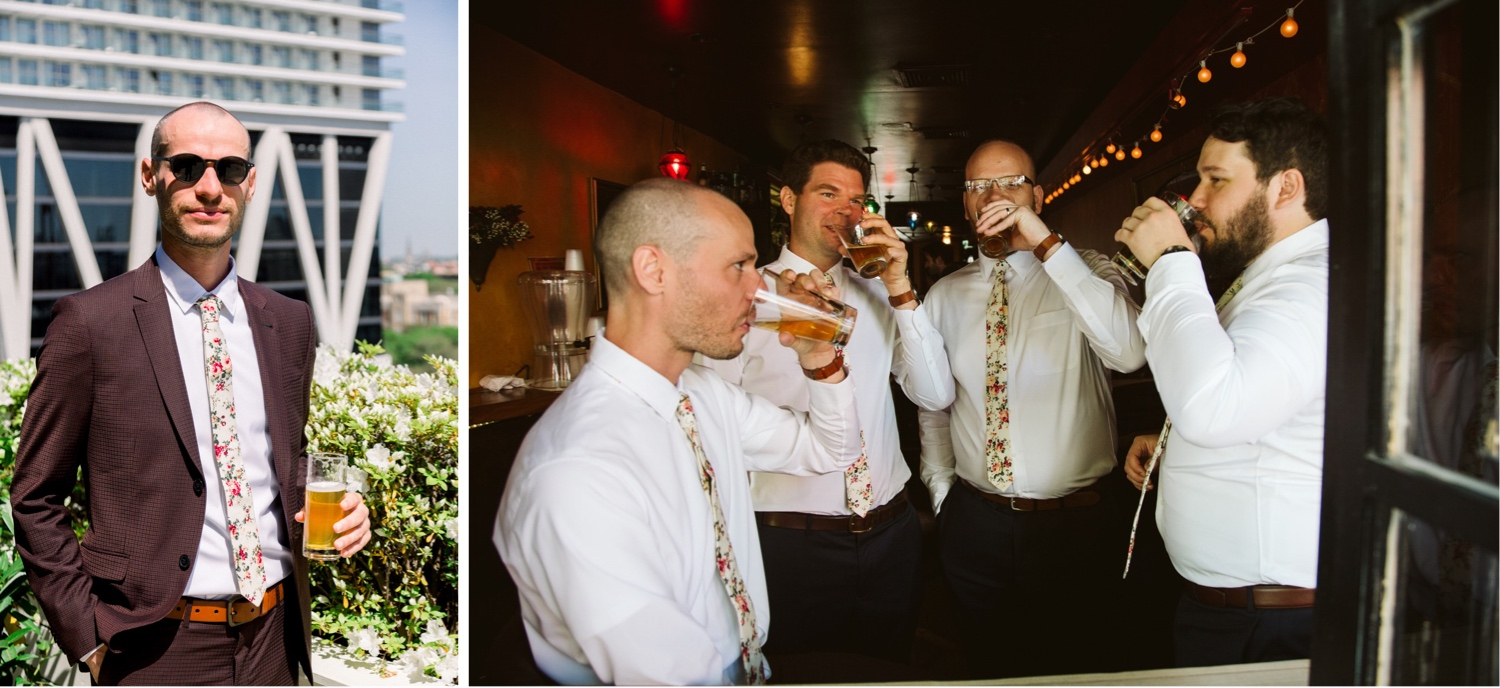 The groom posing on the rooftop of the wythe hotel and a photo of the groomsmen and groom at a bar in williamsburg before the ceremony