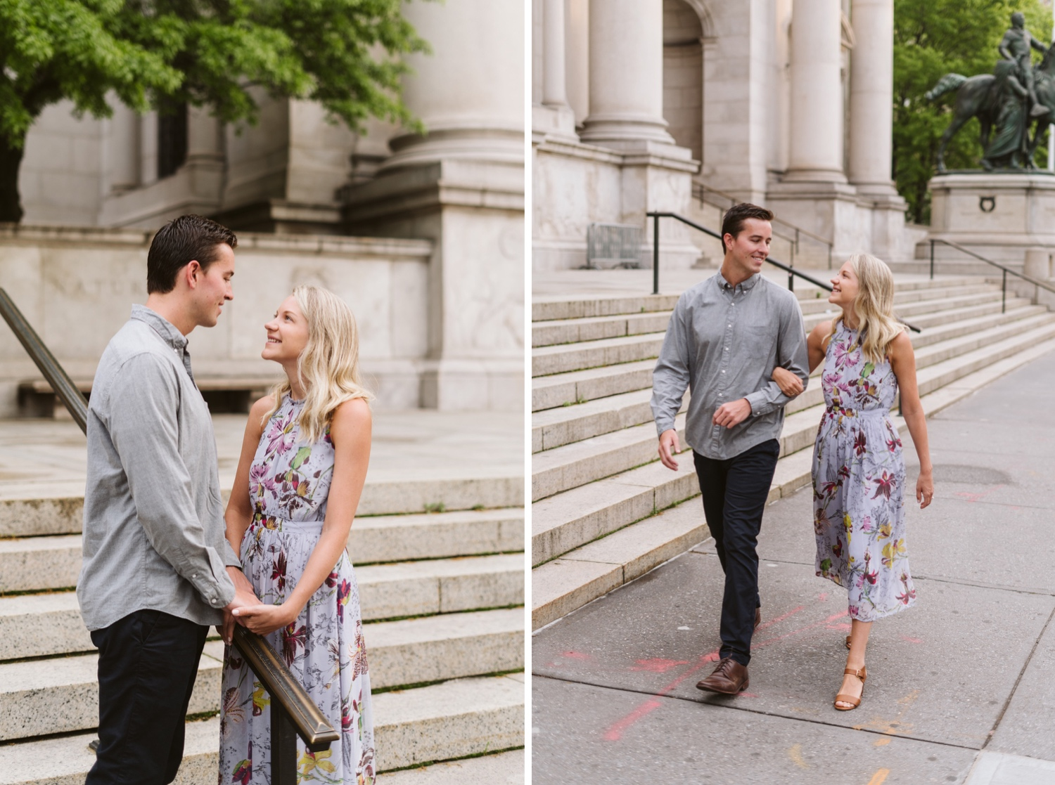 Couple walking in front of The American Museum of Natural History for their engagement session