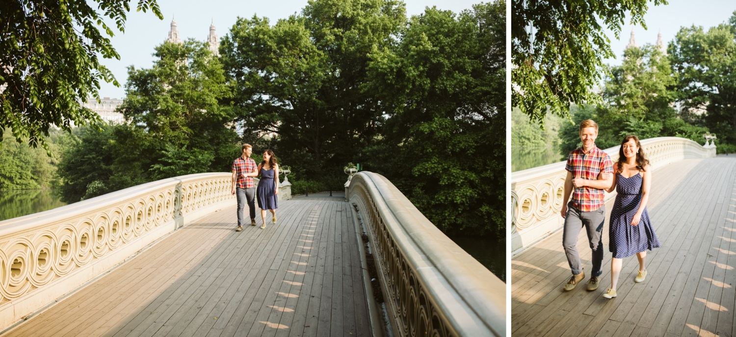 engaged couple walking across bow bridge in central park