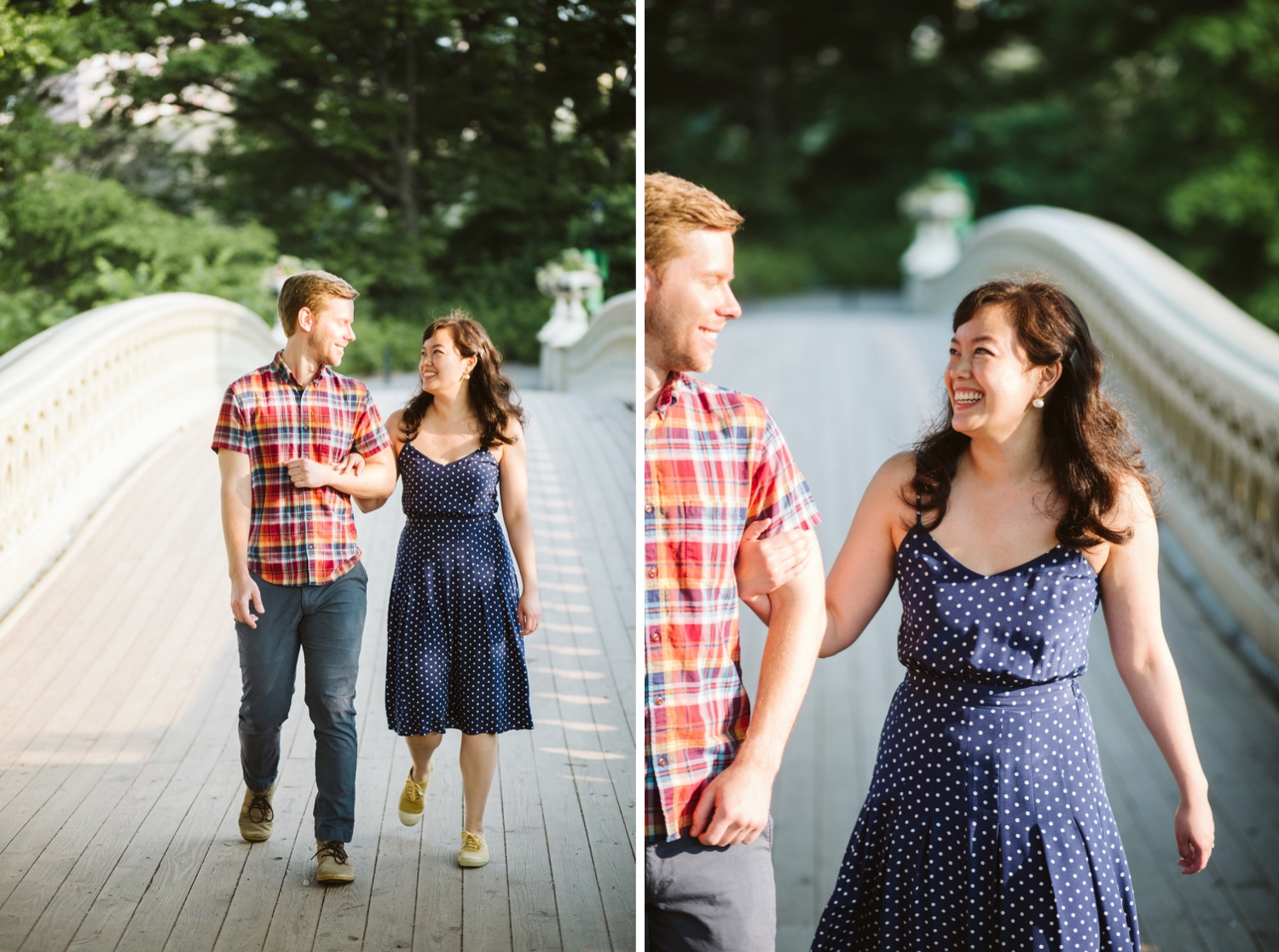 engagement photos of couple at bow bridge in central park