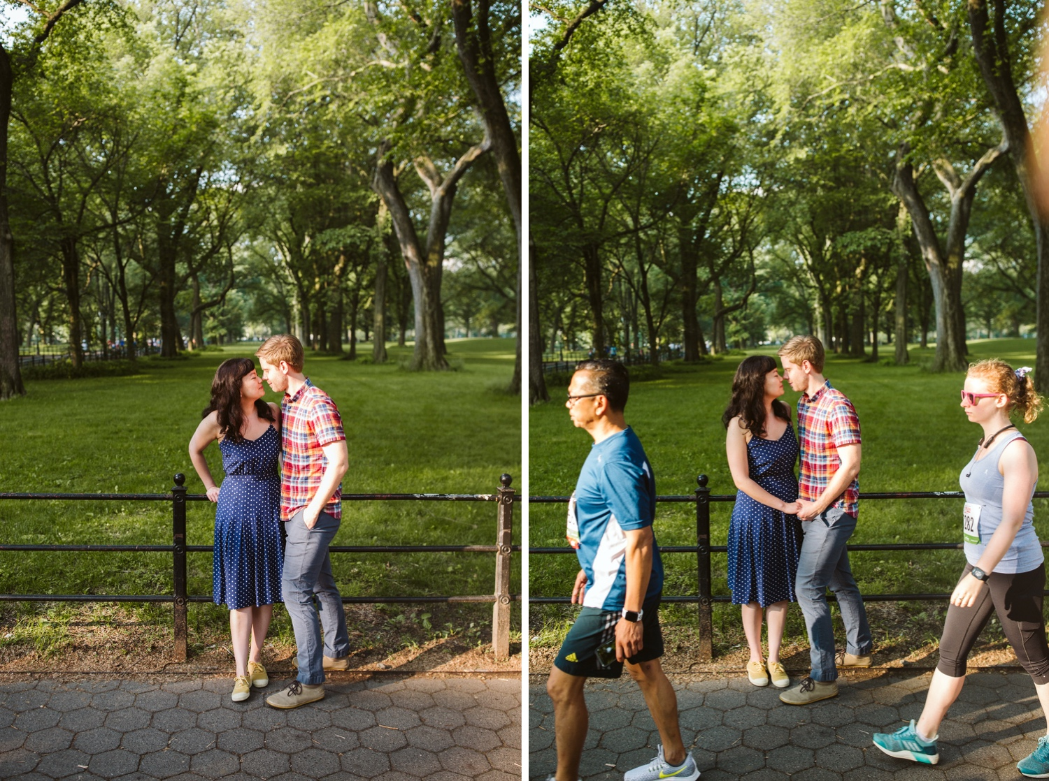 engaged couple kissing in the first photo, walkers in central park passing through the second photo in front of them