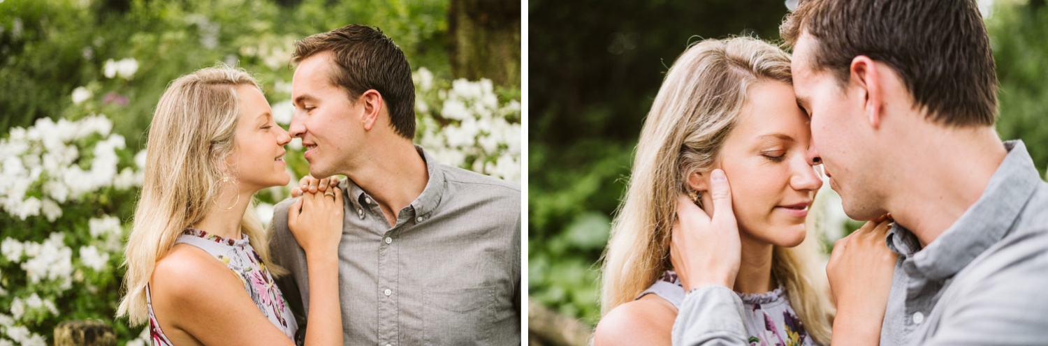 closeup photos of the couples faces as they look at each other and kiss