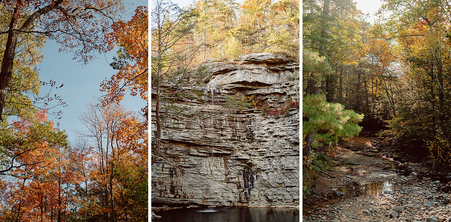 Scenic landscapes at Minnewaska State Park Preserve, Awosting Falls, Fall colors, and fall trees