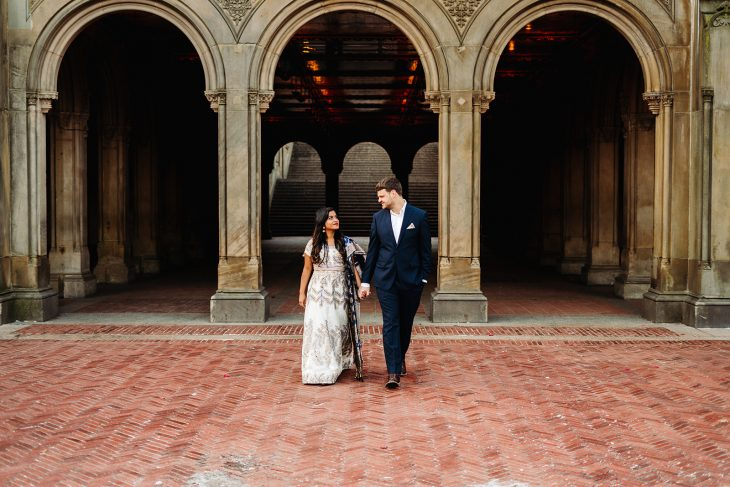 Central Park Engagement Pictures, Bethesda Terrace Engagement Photos in Central Park
