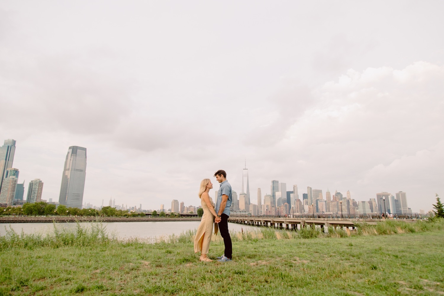 Jersey City Engagement Session at Liberty State Park, Manhattan Skyline Views from Liberty State Park