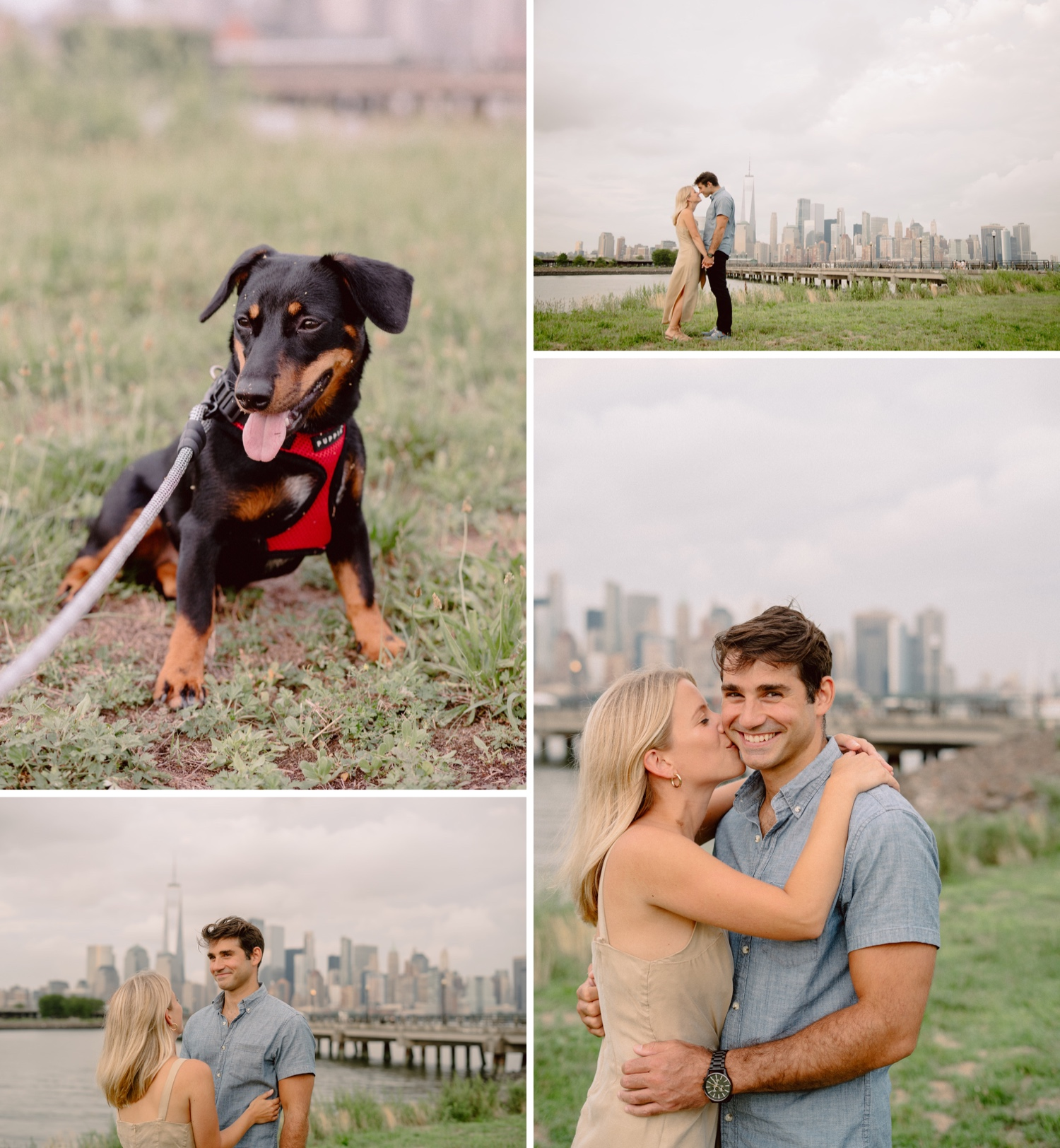Engagement Session with dogs, Engagement Sessions with Dogs at Liberty State Park, Liberty State Park Engagement Session, Liberty State Park Wedding Photographer, NYC Wedding Photographer