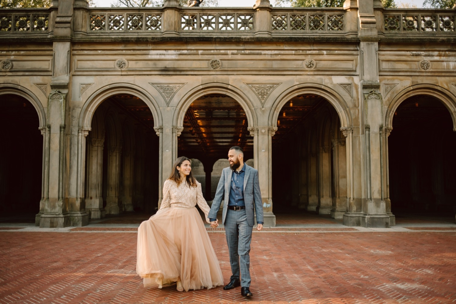 Engagement Photos in front of Bethesda Terrace at Central Park