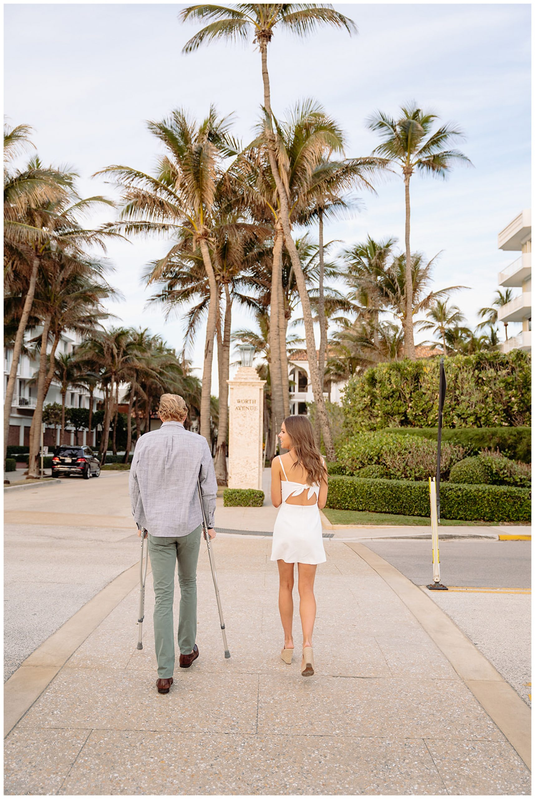 couple walking with crutches in florida