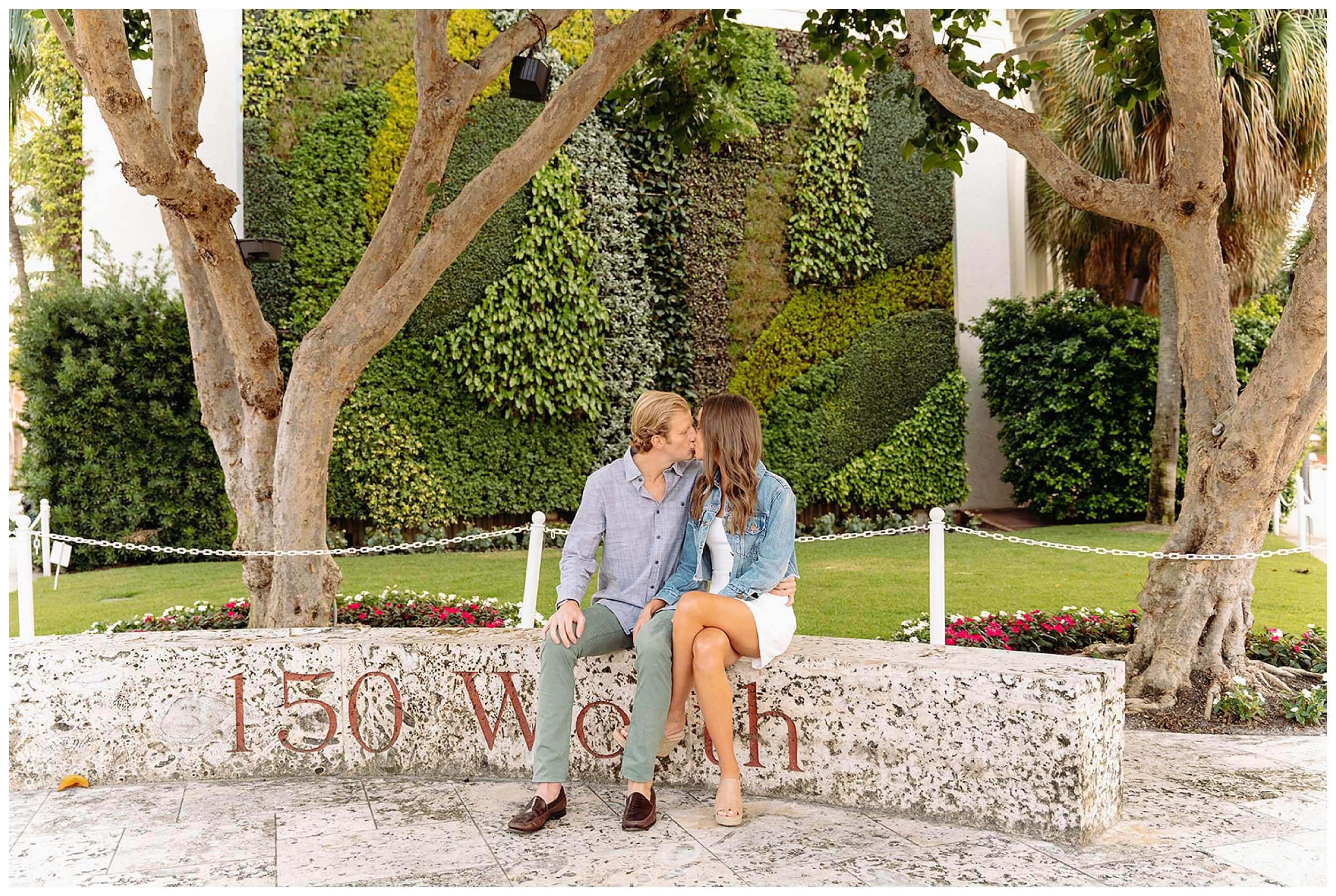 couple kissing in garden