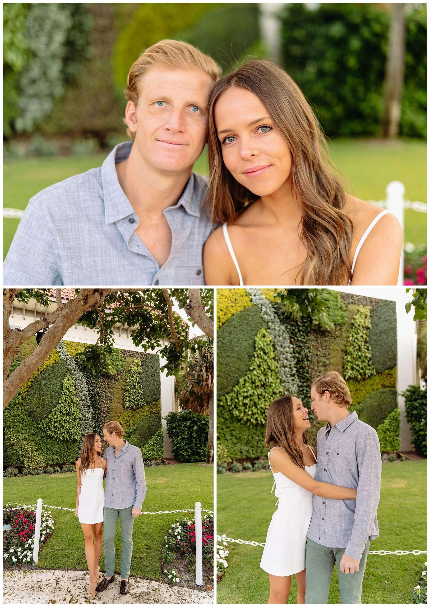 couple kissing in green garden