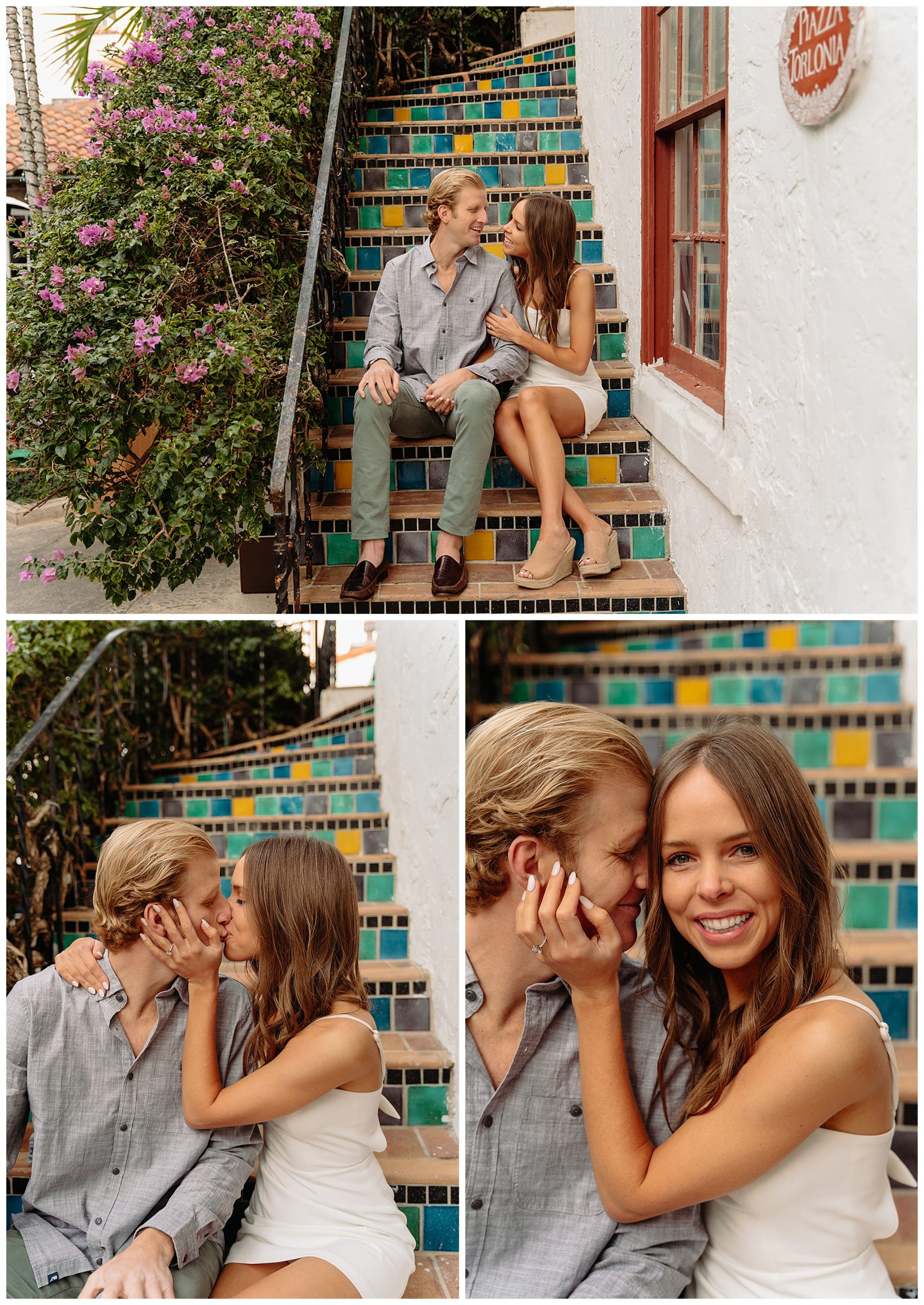 couple kissing and sitting on staircase